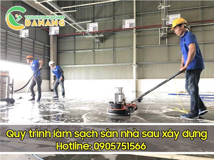 Vệ sinh công nghiệp tại Đà Nẵng - chà đánh sàn nhà sau xây dựng