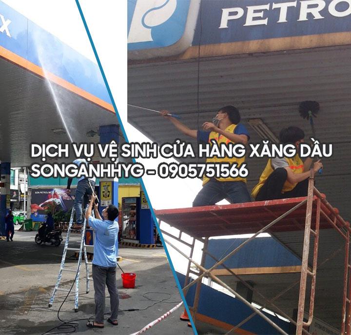 Vệ sinh cửa hàng xăng dầu tai Đà Nẵng