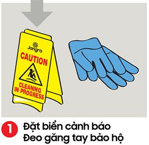 đặt biển cảnh báo trơn trượt nguy hiểm