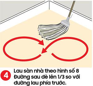 Lau sàn nhà theo hình số 8 - kỹ thuật lau sàn nhà
