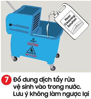 Đổ dung dịch vệ sinh sàn vào thùng nước - kỹ thuật lau sàn nhà