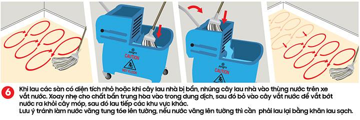 Lau từng khu vực nhỏ, giặt cây lau khi chuyển sang khu vực sàn khác - kỹ thuật lau sàn nhà