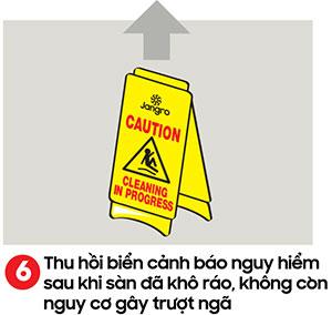 Thu hồi biển cảnh báo nguy hiểm sau khi sàn đã khô ráo - kỹ thuật lau sàn nhà