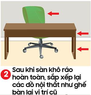 Sắp xếp lại bàn ghế về lại vị trí cũ - kỹ thuật lau sàn nhà