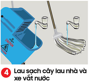 Lau sạch xe vắt nước và giặt sạch cây lau nhà - kỹ thuật lau sàn nhà